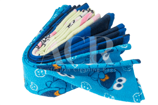 Australian Cleaning Rags flannel coloured stacked